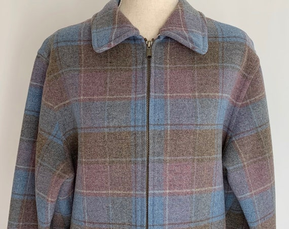 Pendleton Plaid Wool Coat Jacket Vintage 80s Pastel Blue Pink Beige Car Coat Front Pockets Zip Front Made in USA Size S