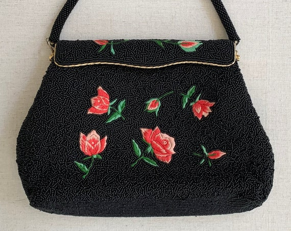 Black Rose Beaded Purse Evening Bag Clutch Vintage Mid Century Glass Beads Made in Hong Kong Gold Tone Frame Black Tie Wedding