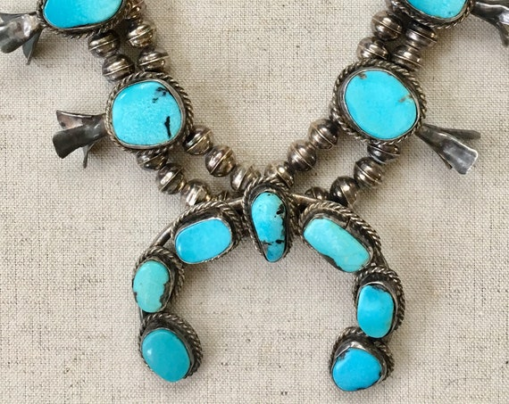 Turquoise Squash Blossom Necklace Vintage 70s Native American Navajo Sterling Silver Navajo Pearl Sleeping Beauty