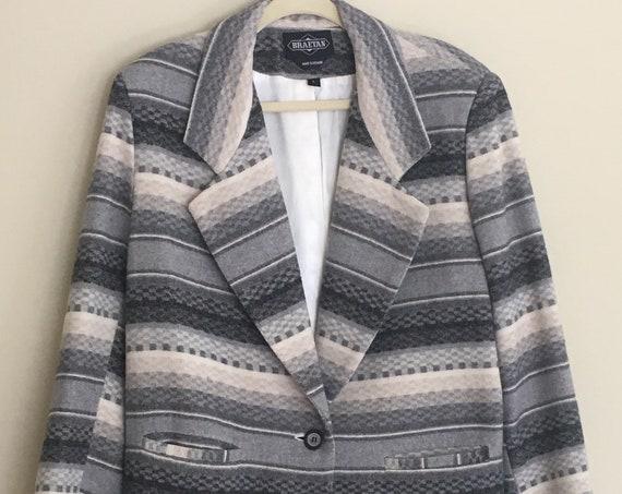 Men's Gray Wool Jacket Coat Beige Charcoal Grey Vintage Southwest Serape Style Made in Ukraine Large L 42 R