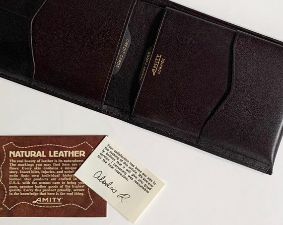 Expresso Brown Leather Wallet Billfold Vintage 80s Made in USA by Amity Natural Cowhide Leather Minimalist Mens Style Paperwork Never Used