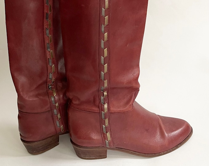70s Oxblood Leather Boots Tall Boots Womens Boots Vintage Made in Brazil Metallic Leather Detail Stacked Heel Red Wine