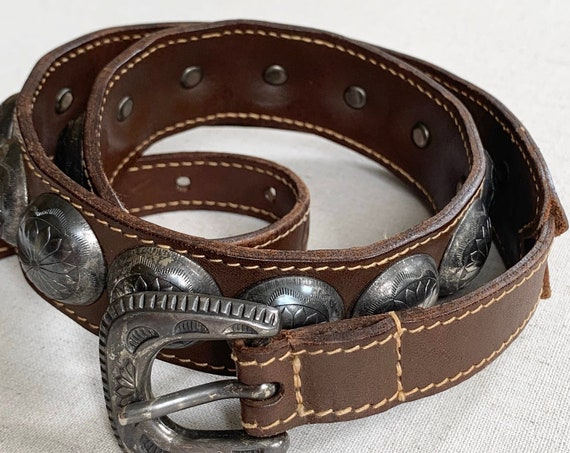 Concho Belt 80s Banana Republic Vintage Brown Leather Silver Toned Conchas Made in Italy Women's Belts Size XS S
