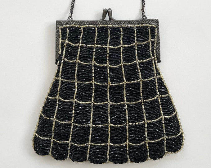 Black Beaded Purse Bag Vintage 80s Made in India Scalloped Edge Chain Strap Glam Evening Party Cocktail Black Tie