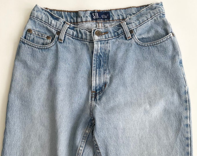 Vintage Light Wash Jeans Worn Distressed Patina 80s 90s All Cotton  Made in Mexico Mid High Waist Straight Leg