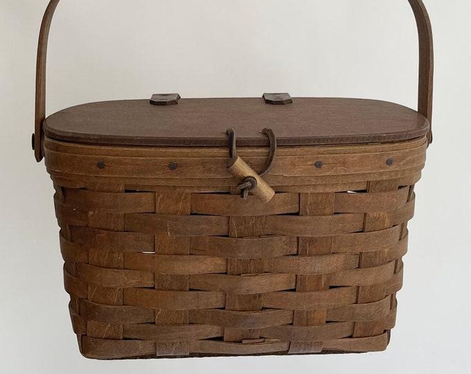 Handmade Wicker Basket Bag Purse Vintage 70s Folk Jane Birkin Style Hand Woven Basket Wood Lid Leather Detail
