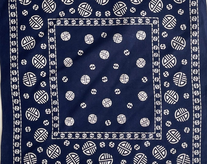 Indigo Blue Bandana Vintage 50s 60s Fast Color Navy Blue White Circle Dot Geometric Print