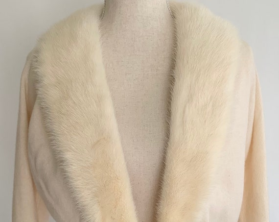 Creamy White Cashmere Sweater Cardigan with Mink Collar Silver Tone and Pearl Closure Vintage 50s 60s Bridal Wedding Fur