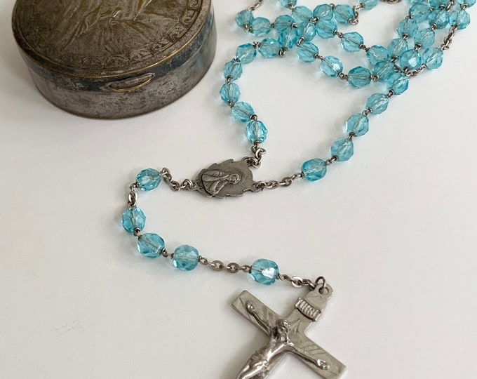 Sterling Rosary Bead Necklace with Box Vintage Sterling Silver Cross Crucifix Saint Icon Medal Religious Catholic Jewelry Blue Prayer Beads