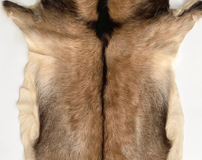 Brown Black Fur Pelt Throw Rug Wall Hanging Vintage Natural Animal Skin Guessing Deer or Goat Western Cabin Ranch Decor Small Size