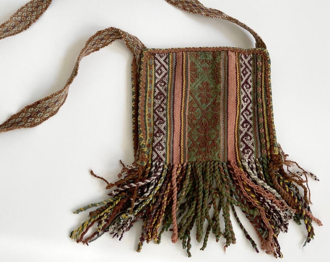 Boho Knit Crossbody Bag Purse Artisan Tribal South American Handwoven Wool Textile Fringe Hem Vintage Neutral Colors Slouchy Summer Festival