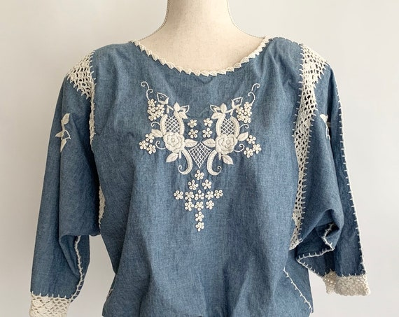 Embroidered Chambray Peasant Top Cotton Folk Crochet Details Flowers Vintage 80s Made in Philippines Women's S M