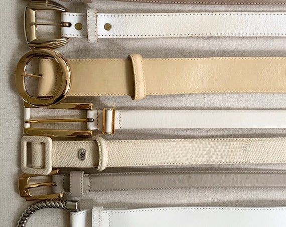 Plain White Leather Belt Belts Vintage Women's Belts Minimalist Beige Khaki Ivory Bone Simple Classic Skinny Wide Gold Silver Buckle Upcycle