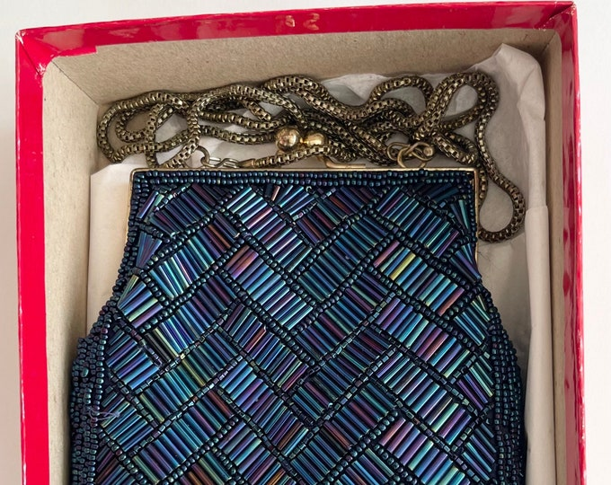 Midnight Blue Beaded Purse Evening Bag from Saks Fifth Avenue Vintage Glamour Party Wedding Bridal Iridescent Beads Gold Tone Chain Strap