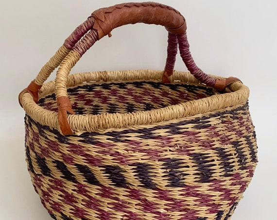 Boho Market Basket Vintage Handwoven Baskets Leather Wrapped Handle Faded Beige Indigo Patina