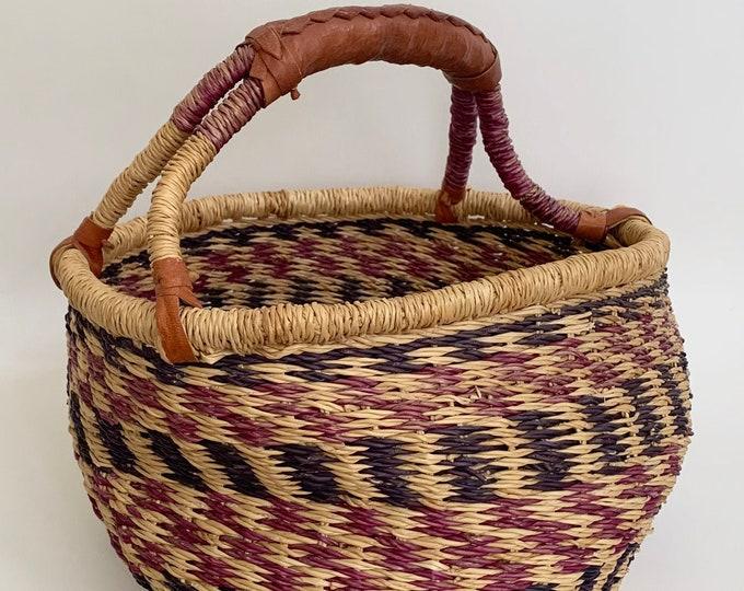 Boho Market Basket Vintage Handwoven Baskets Leather Wrapped Handle Faded Beige Indigo Patina