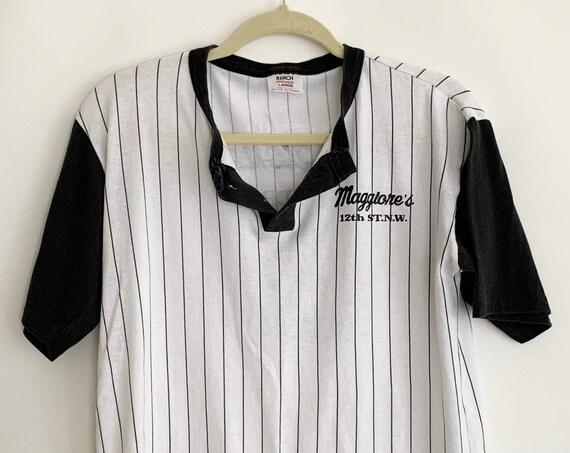 Vintage Baseball Henley Shirt T Shirt Tee Vintage 70s Athletic Black and White Striped Maggiones Drive Thru Team Shirt
