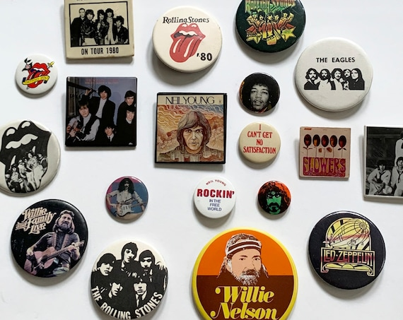 Rock and Roll Pin Vintage Classic Country Music Memorabilia 60s 70s 80s Willie Nelson Rolling Stones Neil Young Eagles