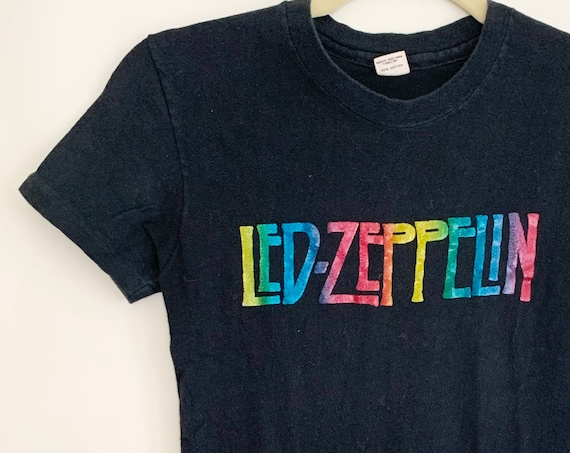 Vintage Led Zeppelin Tshirt with Old Rainbow Glitter Iron On Transfer Vintage 70s 80s Hanes Faded Black T Shirt Womens XXS XS Baby Tee