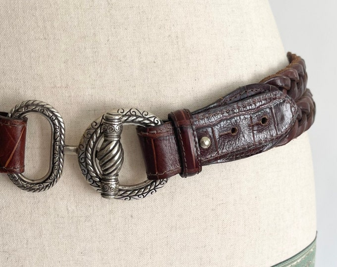 Braided Leather Belt Horse Bit Style Buckle Vintage 90s Brown Leather Silver Tone Metal Buckle Likely Made by Brighton
