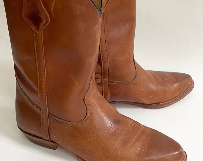 Aged Frye Field Boots Western Minimalist Cowboy Boots Made in USA Short Mid Calf Height Size 7 7.5