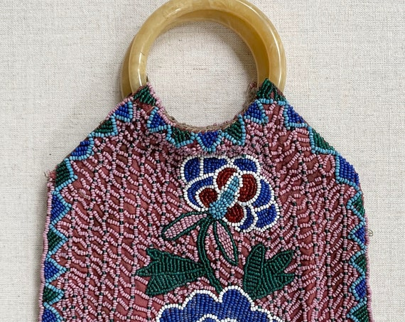 Antique Beaded Purse Bag Bakelite Ring Handles Vintage 20s 30s Floral Flower Beading Silk Lining Wedding Bridal