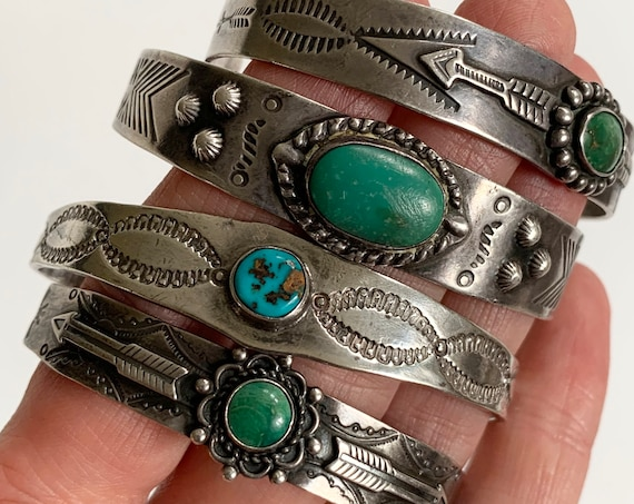Fred Harvey Bracelet Cuff Vintage Fred Harvey Era Hand Stamped Thunderbird Arrow Band Native American Turquoise Jewelry