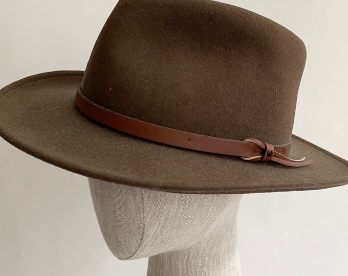 Felted Wool Cowboy Hat Fedora Vintage Dorfman Pacific Stockton California Made in USA Taupe Brown Leather Hat Band Mens Hats
