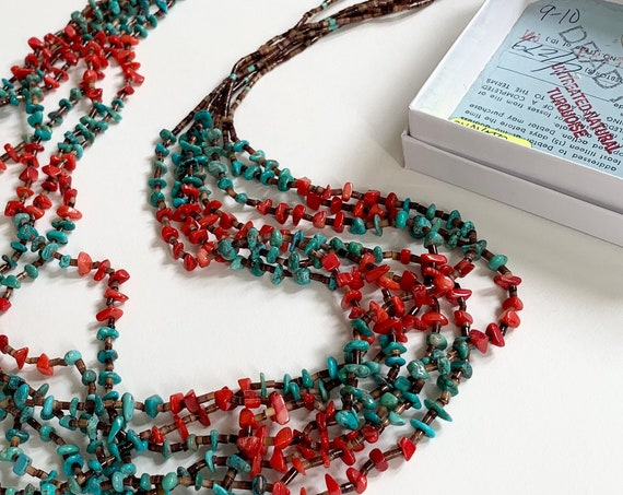 """Authentic Dead Pawn Necklace Natural Turquoise Red Coral Heishi Multi 7 Strand Vintage Native American Bead Beaded Long 31"""" Length"""