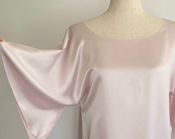 Ballet Pink Caftan Nightgown Lucie Ann Beverly Hills Vintage 70s Glamorous Dramatic Long Floor Length Powder Pink Size P XS S