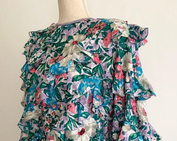 Diane Freis Ruffle Blouse Top Vintage Designer Floral Print Georgette Ruffles Beaded Sequins Gathered Drawstring Hemline Size S