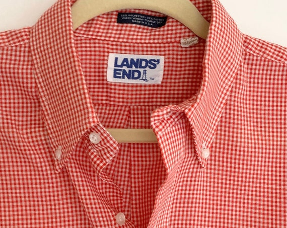 Lightweight Gingham Shirt Vintage Land's End Red White Button Up Men's Shirt Soft Check Plaid Made in USA