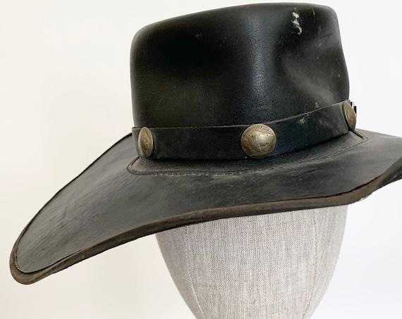 Black Leather Cowboy Hat Vintage Buffalo Nickel Band Distressed Worn Patina Western Hats San Zeno Leather Handmade Hats of California