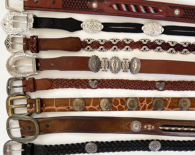 Western Leather Concho Belt Distressed Brown Leather Strap Vintage Leather Goods Brighton Tony Lama Mens Womens Belts