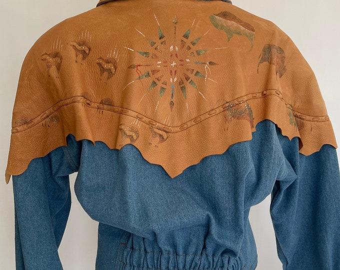 Patricia Wolf Western Jacket Tan Leather Denim Cotton Denim Vintage Designer Hand Painted Buffalo Nipped Waist Oversized Shoulders