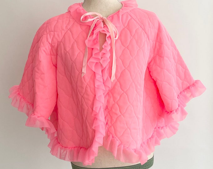 Neon Pink Bed Jacket Quilted Nylon Smoking Jacket Ruffle Neckline Bed Jacket Bright Pink Tie Neck Vintage 60s Retro Sleepwear Ruffles XS S