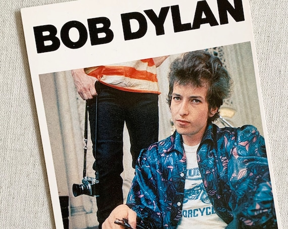 Vintage Bob Dylan Postcard Printed in England Vintage 60s 1965 Highway 61 Revisited Album Concert Rock and Roll Memorabilia