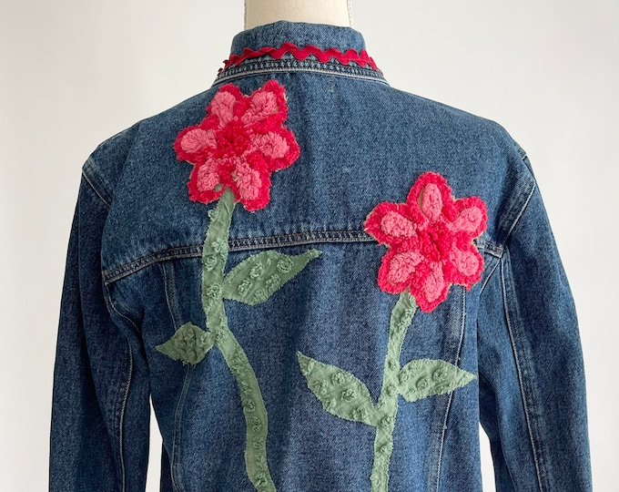 Embellished Floral Denim Jacket Repurposed Blue Jean Chenille Applique Vintage Baby Ewe Originals Womens Trucker Jacket with Flowers XS S