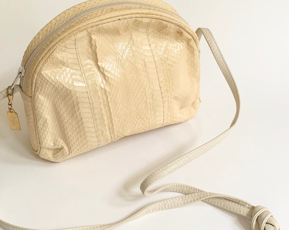 White Snakeskin Purse Saks Fifth Avenue Vintage Handbag Made in Hong Kong Gold Tone Hardware Shoulder Bag Zip Closure
