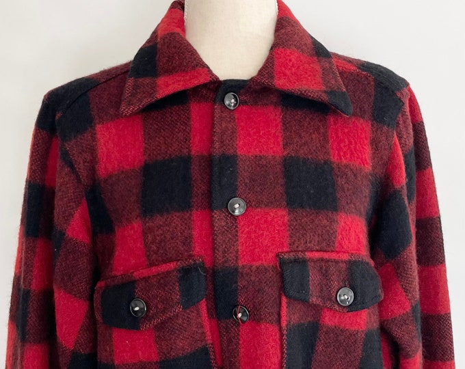 60s Minnesota Woolens Jacket Lumberjack Utility Work Shirt Vintage Red Black All Wool Buffalo Plaid Check Mens XS S M
