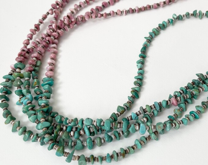 """Multi Strand Heishi Necklace Natural Turquoise Spiny Oyster Nugget Beads 5 Strand Vintage Native American Bead Beaded Long 30"""""""