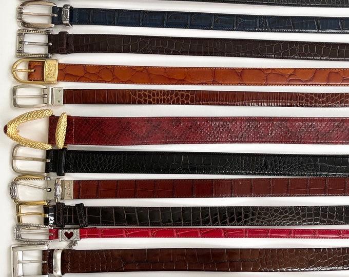 Reptile Embossed Leather Belt Vintage Mens Womens Belts Brown Black Lizard Croco Snake Alligator Minimalist Western Brighton Ralph Lauren