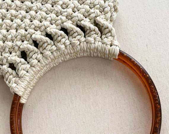 Natural White Macrame Purse Handbag Handmade Vintage 70s Immaculate Interior Lining Boho Bohemian Beach Summer Bag
