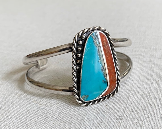 Big Turquoise Slab Bracelet Cuff Vintage Native American Navajo Sterling Silver Turquoise Red Coral Flush Inlay Hand Split Large Face