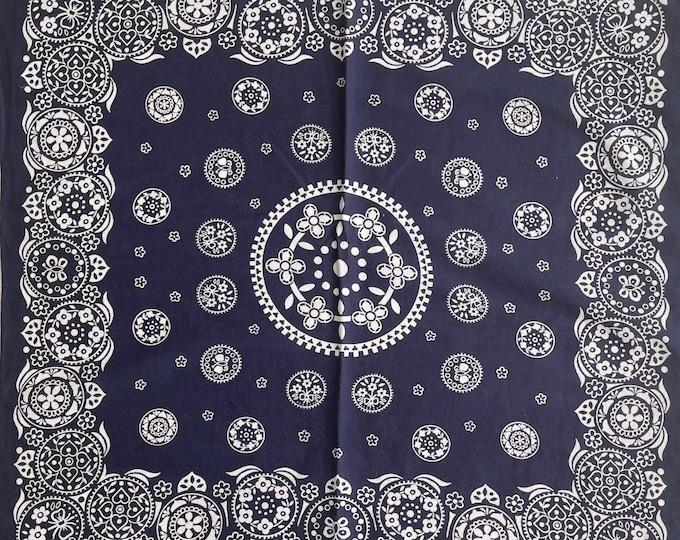 Lightweight 50s Indigo Bandana Vintage 50s Fast Color All Cotton Floral Paisley Print Navy Blue White