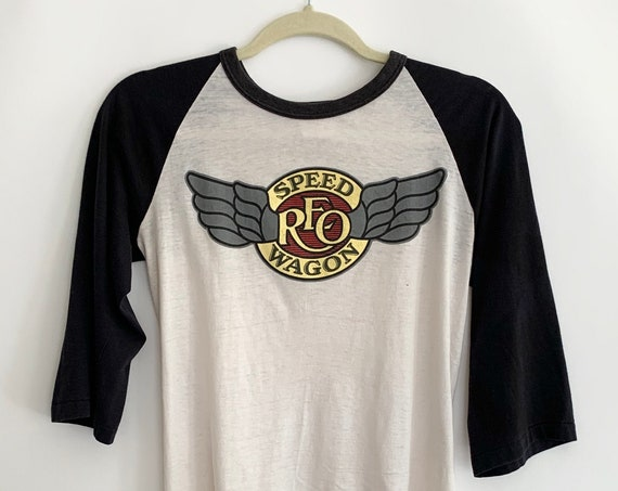 Vintage REO Speedwagon Shirt Tee T Shirt Raglan Vintage 80's Winged Wings Logo Paper Thin Rock Music Tour