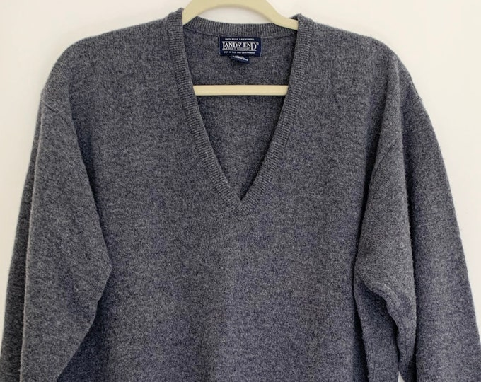 Gray Lambswool Sweater V Neck Made in the United Kingdom Vintage Lands End Solid Charcoal Gray Minimalist Style Mens L