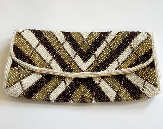 Chevron Beaded Clutch Purse Vintage 70s Made in Japan Floral Design Satin Lining Brown Gold Pearl Chevron Design