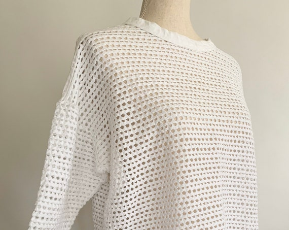 80s Open Knit Top Shirt Vintage Agenda Made in USA White Open Weave Crochet Style Long Sleeve Size XS S