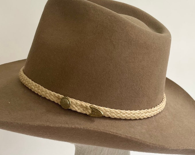 Felted Wool Cowboy Hat Vintage B bar H Silver Spur Made in USA Style Hondo Taupe Brown Braided Hat Band Size 7.5